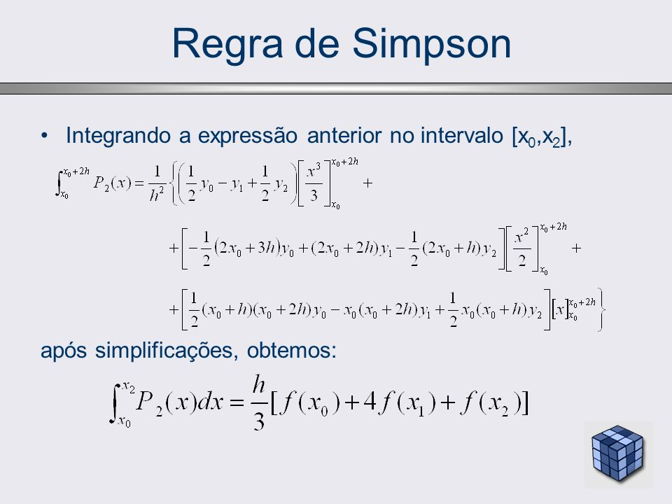 Regra de Simpson Integrando a expressão anterior no intervalo [x0,x2],